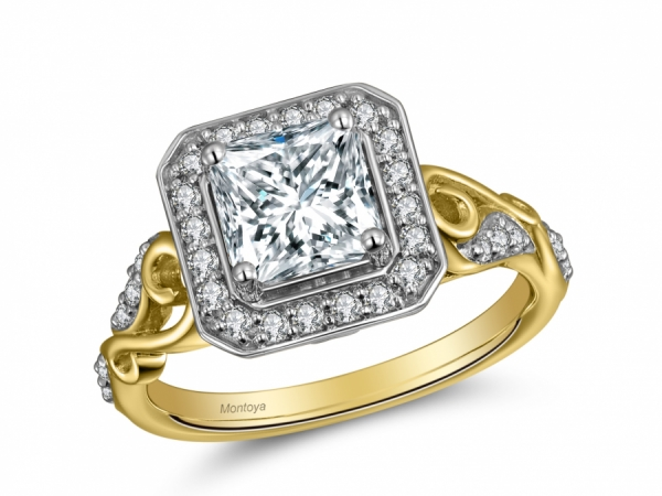 Detailed Enement Rings | 14k Two Tone Detailed Scroll Ascher Halo Rgr26406 Engagement Rings