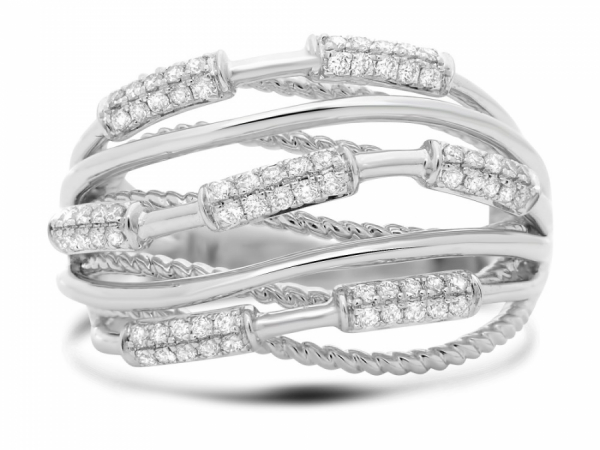 Intertwined White Gold & Diamond Ring by Roman + Jules